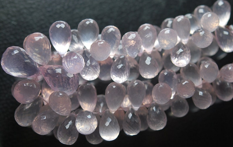 7/'/' Strand AAA Quality Natural Brazil Mines Rose Quartz Faceted Drops Shape Briolettes 10mm Calibrated Size