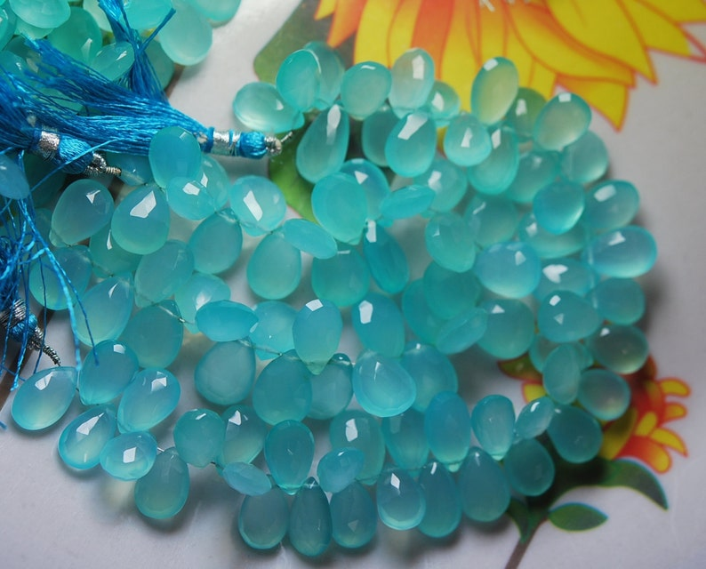 Aqua Chalcedony Faceted Pear Briolettes,7x10mm 8 Inches