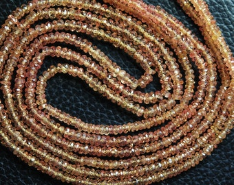 18 Inches Strand, Super Wholesale Price, NATURAL Orange Padparadscha Sapphires Sapphire Faceted Rondelles 3-2.5mm