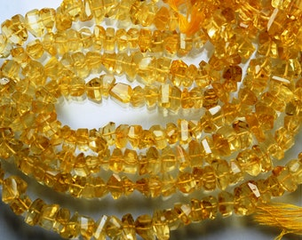 7 Inches Strand, Super Finest Golden Citrine Faceted Fancy Cut Nuggets, Size 7-10mm