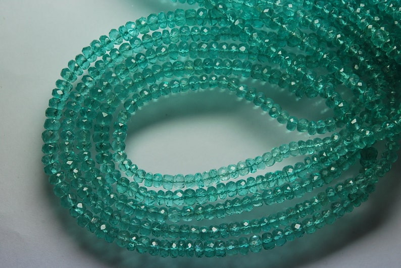 14 Inches Super Finest Quality Sky Sea GREEN Apatite Faceted Rondelles Size 4.5mm 68 Cts