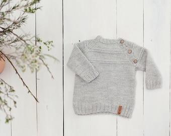 SALE 30% OFF Grey baby sweater / Hand knit alpaca Baby Cardigan / Girl / Boy sweater / Kids sweater / Children sweater/  Toddler sweater