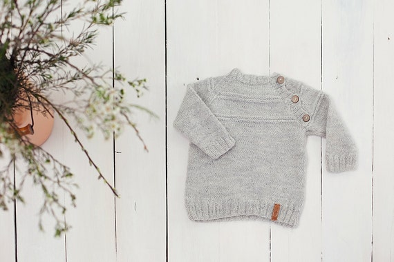 ce33606d SALE 30% OFF Grey baby sweater / Hand knit alpaca Baby | Etsy
