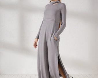 Women's maxi dress Long sleeve off shoulder dress Long gray slit dress with pockets Extravagant flowy dress Grey maxi dresses