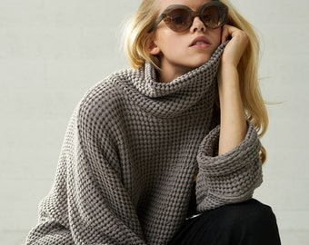 Womens Linen Chunky Oversized Fall Sweater, Boho Autumn Cardigan Sweatshirt For Women, Linen Mom Gift For Women