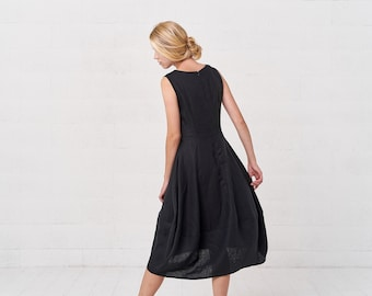 563c0631327 Sleeveless Summer Bohemian Black Linen Kaftan Dress