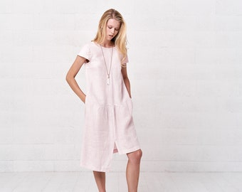 1fbba63d7bbd Short Sleeve Linen Midi Dress, Boho Asymetrical Dress For Women