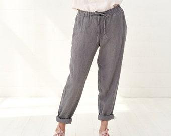 Cropped Linen Womens Yoga Pants, Drawstring Baggy Maternity Pants For Women