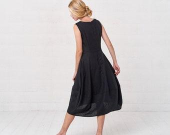 f612a0d76e Sleeveless Summer Bohemian Black Linen Kaftan Dress