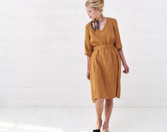 6297b6dc5f5 Women s Wrap Mustard Linen Midi Dress