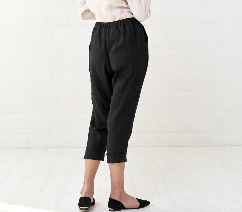 """<Span Data Inner Title="""""""">Women's Linen Cropped Pants, Casual Black Loose Linen Tapered Pants For Summer</Span> by Etsy"""