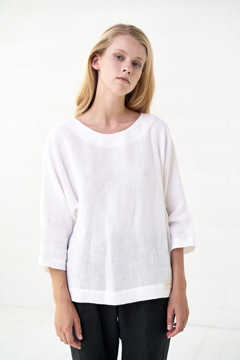 White Linen Romantic Oversized Top Boho Summer Butterfly Summer Blouse For Women