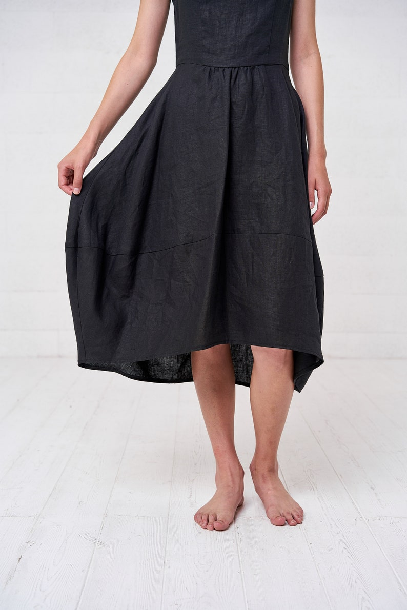 be6c65e291a Sleeveless Summer Bohemian Black Linen Kaftan Dress Black