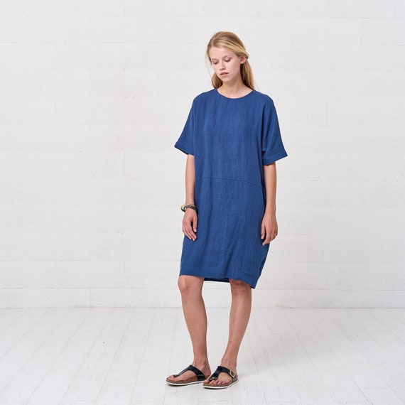 Blue Bubble Linen Midi Dress For Women, Oversize Plus Size Kaftan