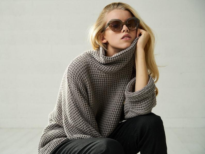 Womens Linen Chunky Oversized Fall Sweater Boho Autumn image 0