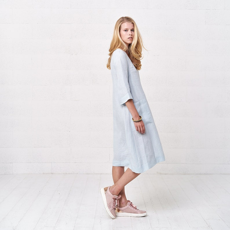 a995dd132af Women s Linen Midi Oversize Dress With Pockets Soft Loose