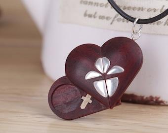 Illusionist locket etsy heart shaped locket picture locket necklace wood locket illusionist locket heart locket necklace anniversary gift for him men husband aloadofball Gallery