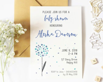 Printed Baby Shower Invitations (Set of 20 Cards) - Bridal Shower Invitations - Gender Neutral Baby Shower Invite - Choose Colour