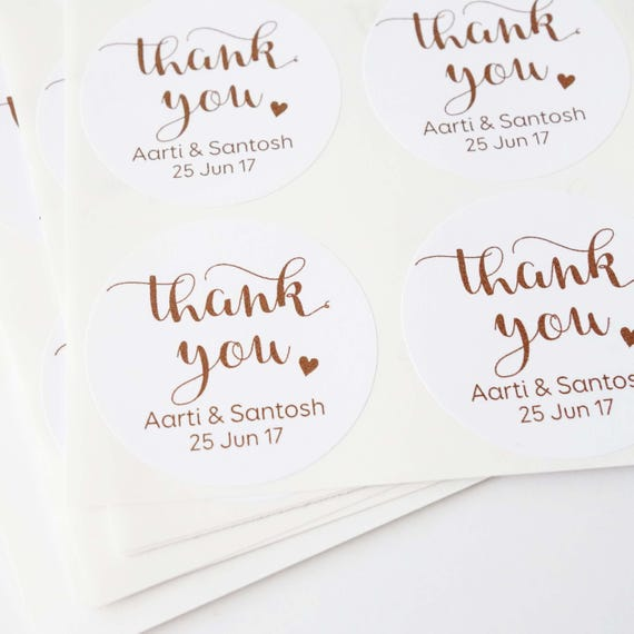 Personalised Thank You Stickers 1 8 45mm Choose Colour Wedding Stickers Baby Shower Favours Invitation Name Sticker