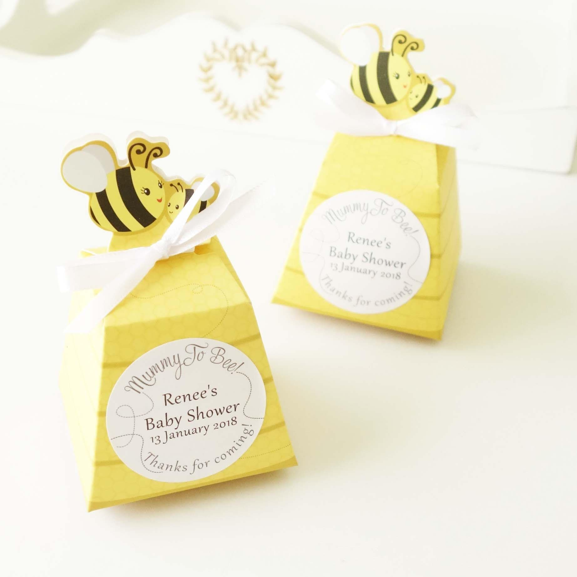20x Personalised Baby Shower Favour Box Honey Bee Birthday