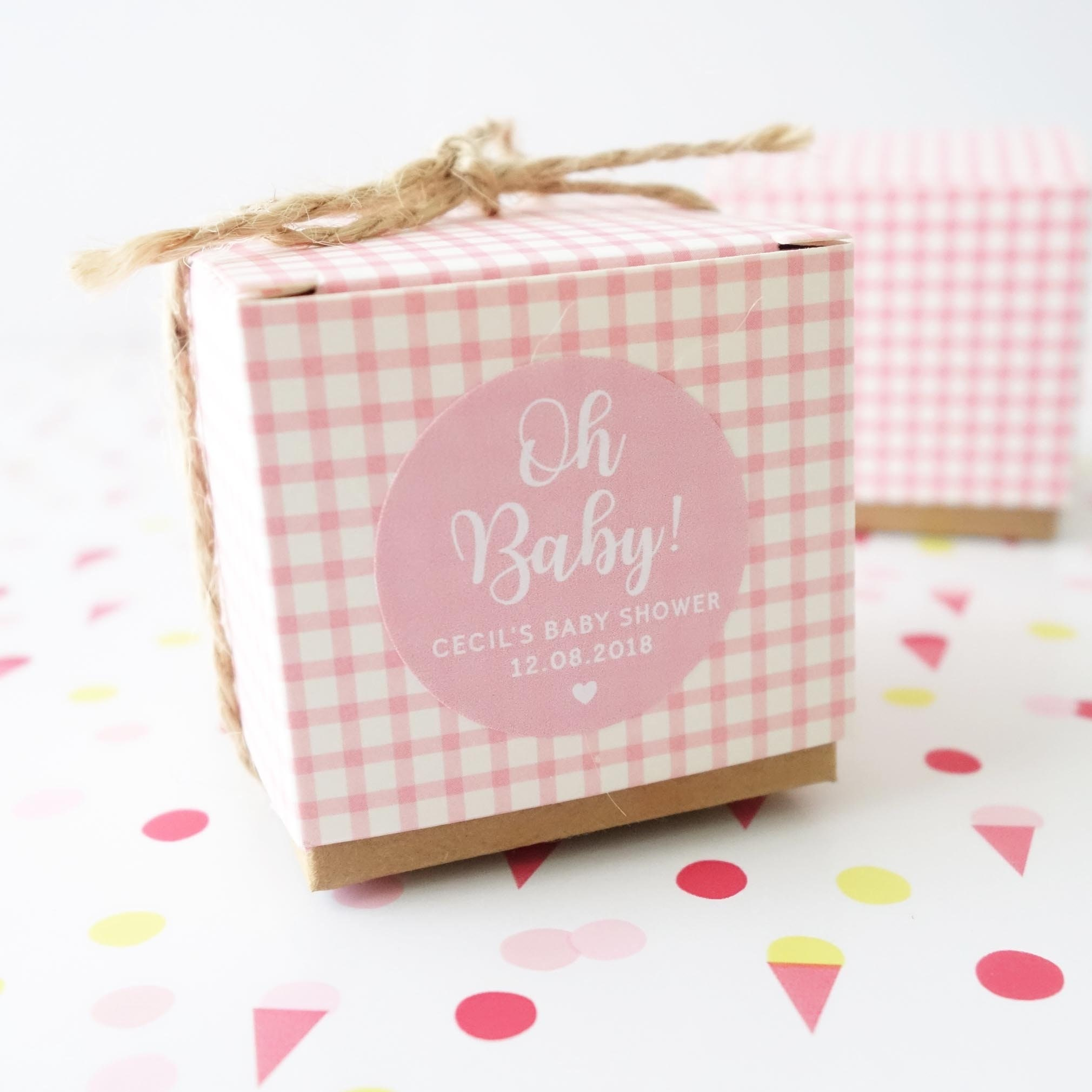 Oh Baby Personalised Baby Shower Favour Boxes Pink Gift Box