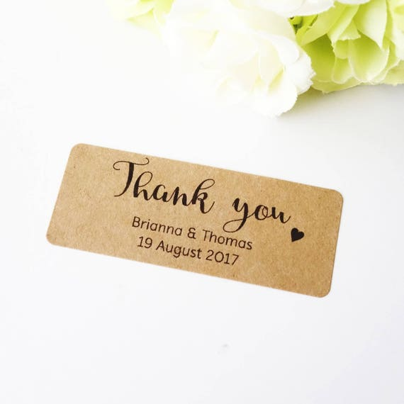 Thank You Stickers 25x64mm Personalised Wedding Favour Labels With Love Baby Shower Favour Invitation Custom Name Sticker