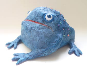 Great Blue Toad Sculpture - Frog Figurine, Funny Blue Animal, Folk Art Toad, Frog Ornament Paperweight, Blue Art Object