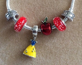 Snow White charm bracelet, apple, dress and pearls