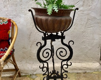 Door plant stand tripod console plants green deco brass black wrought iron copper 1920