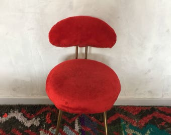 Chair fake fur seventies bright red