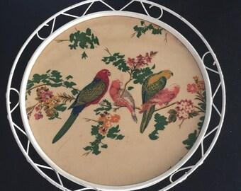 Top round wrought iron and bakelite vintage bird motifs