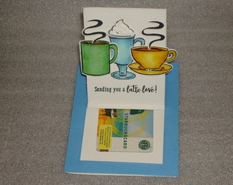 Interactive Latte Love Coffee Theme Pop Up Slider Gift Card Holder All Occasion Handmade Blank Card