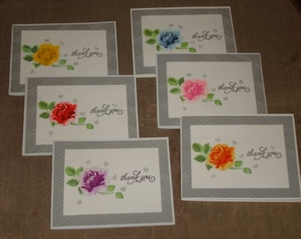 Rose Thank You Card Set, Thank You Cards Weddings, Greeting Card Set, Thank You Note Card Set