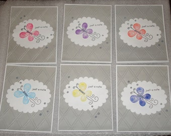 Butterfly Stamped Quilled Just a Note Card Set, Thank You Cards Weddings, Greeting Card Set, Thank You Note Card Set