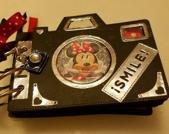"""Minnie Mouse 3""""×4.5"""" photo album handmade Camera Shape Scrapbook Memory Book  Disney"""