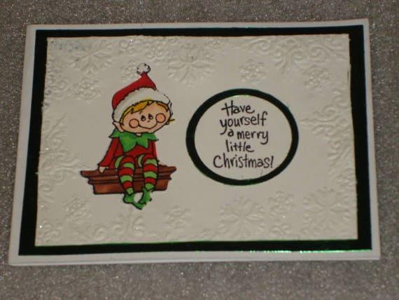 Christmas elf sitting on a shelf greeting card set hand made m4hsunfo