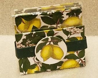 Handmade Chipboard Coaster Lemon Theme Laminated 4 Piece Set plus Holder Hostess Gift