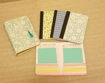 Laminated Micro TN Travelers Planner  Notebook 3 1/4 × 4 1/2 inch, Journal with 3 lined notebooks and a pocket folder