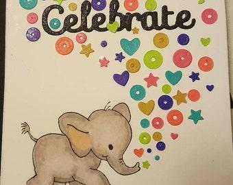 Handmade Interactive Elephant Confetti Launcher All Ocassion Greeting Card