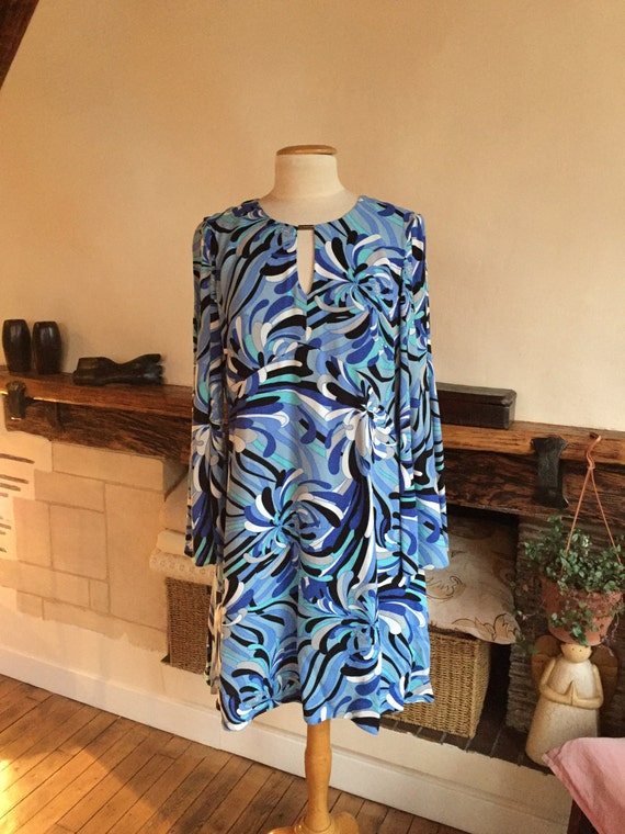 Beautiful Ossie Clark dress in different shades of