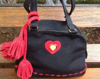 Original 1980's little black and red handbag by Sepcoeur Paris.