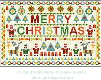 CROSS STITCH KIT Merry Christmas Sampler by Riverdrift House
