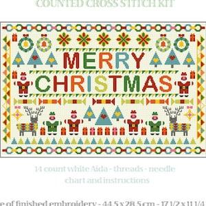 CROSS STITCH KIT Nadolig Llawen Sampler by Riverdrift House Happy Christmas Welsh