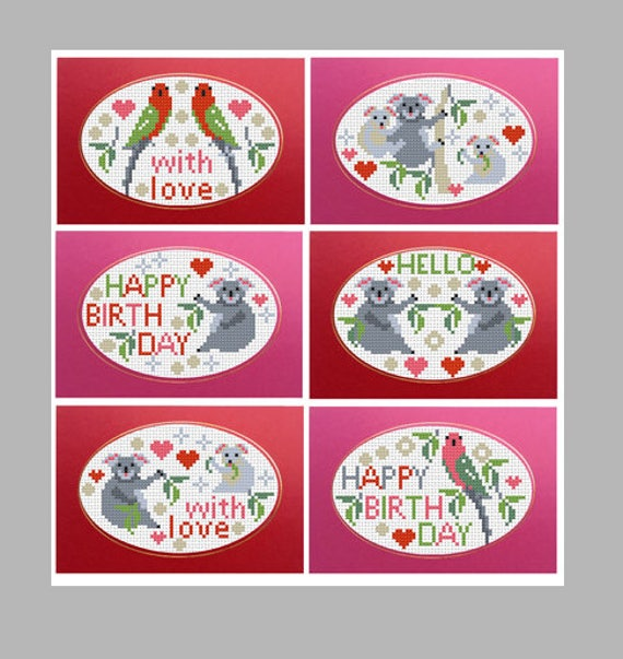 BIRDS /& BOWS SET 6 RIVERDRIFT COUNTED CROSS STITCH GREETINGS CARDS KIT Birthday