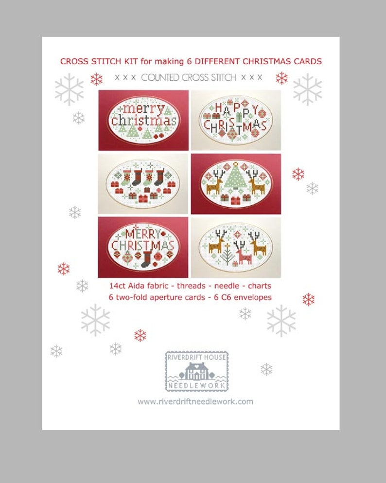 CROSS STITCH Cards KIT 6 Happy Merry Christmas Cards to Stitch and Make by Riverdrift House