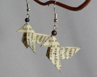 Boucles d'oreilles Origami Cocottes Papier Histoire de France.