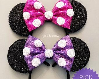 Polka Dot Minnie Ears - Minnie Mouse Headband - Mickey Ears - Sparkly Mickey Ears Headband -  Sparkle Mouse Ears - Sparkle Bow