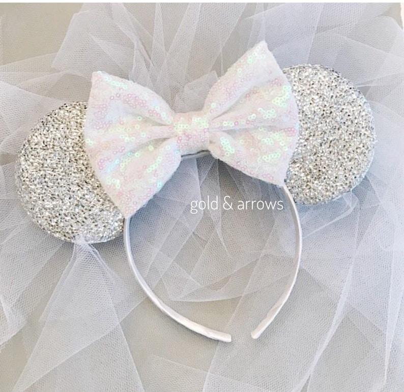 Bride Minnie Ears Headband White Minnie Bride Ears Bride  5c32b76b61b