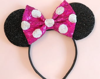 Pink Polka Dot Minnie Ears - Minnie Mouse Headband - Christmas Mickey Ears - Sparkly Mickey Ears Headband -  Sparkle Mouse Ears - MAGENTA