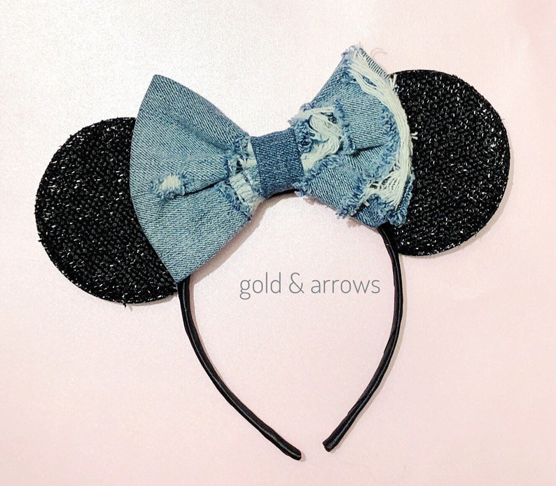 Mouse Ears Mickey Mouse headband Minnie Ears Distressed Jean Mickey Ears Headband Bandana Bow Mouse Ears Headband